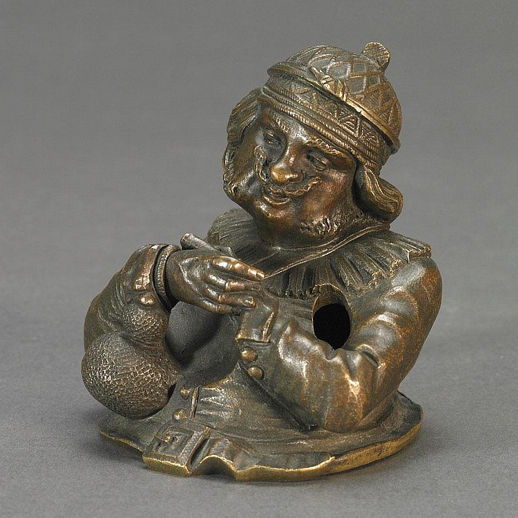 French Patinated Bronze Figural Inkwell by