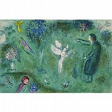 Marc Chagall (1887-1985), LE VERGER DE PHILETAS [M326], Colour lithograph; signed in black pen and ink and numbered 65/250  on the original publisher's certification page affixed to the verso, 16.5