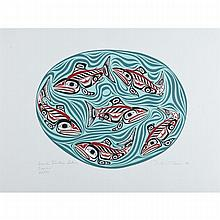 Bill Ronald Reid (1920-1998), HAIDA SOCKEYE SALMON, 1991, Colour silkscreen on Stonehenge Paper; signed, titled and inscribed, dated '91 and numbered 84/199 in pencil. Published by Pacific Editions Limited, Victoria, B.C. in 1991 blind stamp to lower