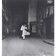 Robert Doisneau (1912-1994), LA DANCE (THE LAST WALTZ) 14 JULY 1949, Gelatin silver print; signed in red; limitation stamp verso. Titled and dated in pencil 14/7/1949 and with a later artist's studio label verso. Unframed., Image 7.25