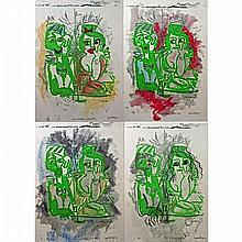 """LUPE RODRIGUEZ (CANADIAN, 1953-2008), THE DRINKERS - 8PM, 9PM, 11PM, 1AM, SET OF FOUR COLOUR LITHOGRAPHS; EACH SIGNED, TITLED AND NUMBERED A/P (Each sight, 31.5"""" x 21.5"""")"""