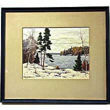 "WILLIAM GARDNER BLACKWOOD (CANADIAN, 1890-?), LAKE STUDY - WINTER, WATERCOLOUR; SIGNED LOWER LEFT (Sight, 9.8"" x 12.5"")"