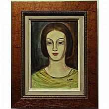 """UMBERTO BRUNI (CANADIAN, 1914-), PORTRAIT STUDY, OIL ON BOARD; SIGNED LOWER RIGHT, 10"""" x 7"""" — 25.4 x 17.8 cm."""