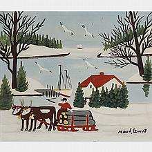 MAUD LEWIS, OXEN HAULING LOGS, WINTER, oil on board, 12 ins x 14 ins; 29.8 cms x 34.9 cms