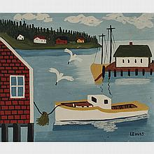 MAUD LEWIS, THE CAPE ISLAND, oil on board, 11.5 ins x 13.5 ins; 30.5 cms x 35.6 cms