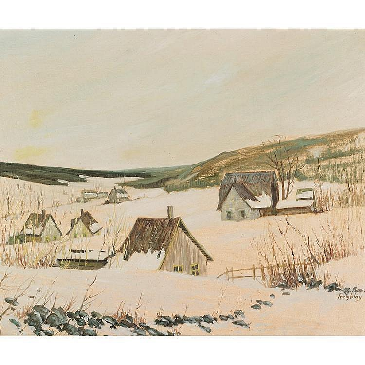 JACQUES TREMBLAY COTTAGES BURIED IN SNOW, oil on