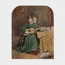 Frederic Walker (1840-1875), PLAYING THE GUITAR (STUDY OF HIS SISTER FANNY WALKER WITH GUITAR), CIRCA 1869, Watercolour; titled to labels verso, numbered