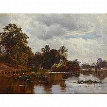 Alfred de Breanski Sr. (1852-1928), KEW GARDENS, Oil on canvas, signed and dated 1887 lower left, signed and and titled verso, 12