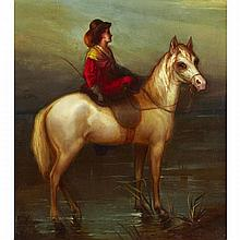 Shepard Alonzo Mount (1804-1868), LADY ON HORSEBACK, Oil on canvas; signed and dated 1842 lower right, 20