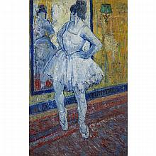 Jehan Frison (1882-1961), BALLERINA IN HER STUDIO, Oil on canvas; signed and dated 1918 lower left, 58