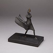 Lynn Chadwick (1914-2003), MAQUETTE VIII, WALKING WOMAN, 1986, Bronze with black patination; stamped