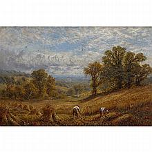 Alfred Augustus Glendening Snr. (1840-1910), THE TIME OF THE HARVEST, Oil on canvas laid down on masonite; signed with initials and dated 1877 lower right, 15.25