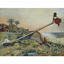 19th Century American Primitive, THE UNION - SEE-SAW (CUBA AND THE US), Oil on canvas. Unstretched and matted., 8.75