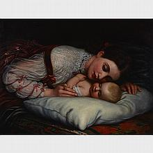 Charles West Cope (1811-1890), O HUSH THEE, MY BABY, Oil on canvas on wood panel; signed with monogram and dated 1874 lower right; signed and titled to artist labels verso, 24.75