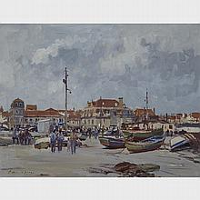 Edward Seago (1910-1974), FISHING BOATS ON THE HARD, CASCAIS- PORTUGAL, Oil on canvas; signed lower left, titled to the stretcher, 20