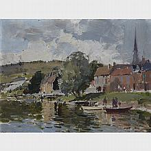 Edward Seago (1910-1974), VILLAGE RIVER SCENE, Oil on masonite board; signed lower left, 12