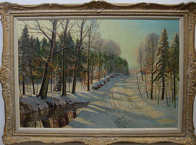 CARL WENNEMOES (1889-?) DANISH WINTER SCENE; OIL