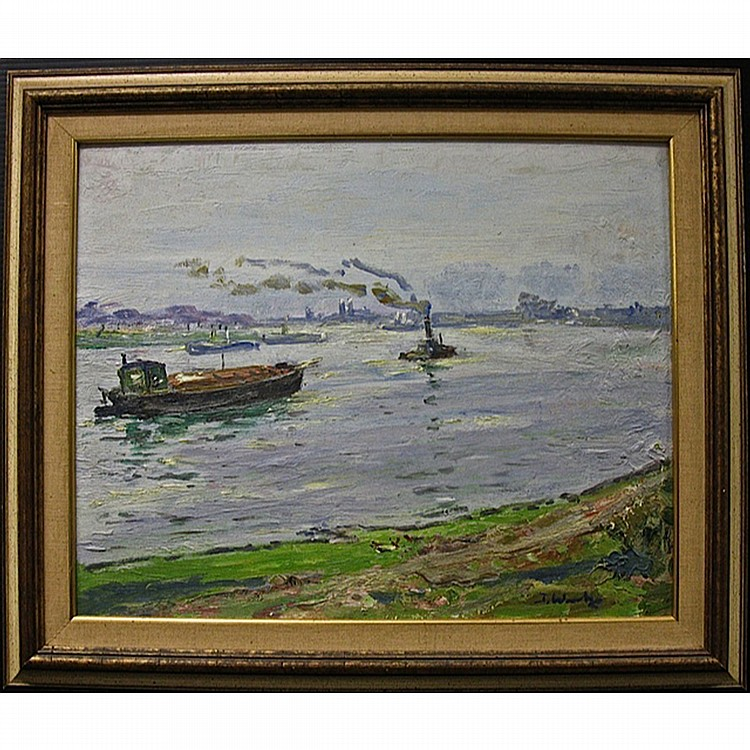 JABOK WEITZ (GERMAN, 1888-1970), BOATS IN A HARBOUR, OIL ON MASONITE; SIGNED LOWER RIGHT, 16