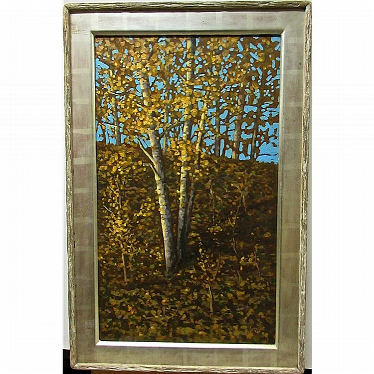 NORMAN R. BROWN (CANADIAN, 1958-), GOLDEN MORNING BIRCHES, OIL ON PANEL; SIGNED LOWER RIGHT; SIGNED, TITLED AND DATED '99 VERSO, 30
