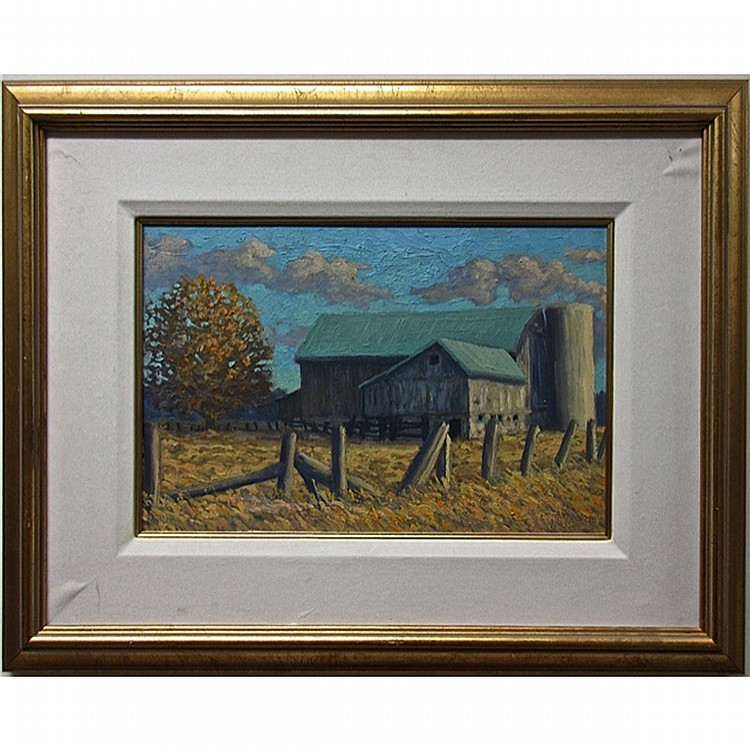 NORMAN R. BROWN (CANADIAN, 1958-), THE OLD BARN IN WHITEVALE, ONT., OIL ON PANEL; INITIALED AND DATED 98-99 LOWER RIGHT; TITLED VERSO, 11