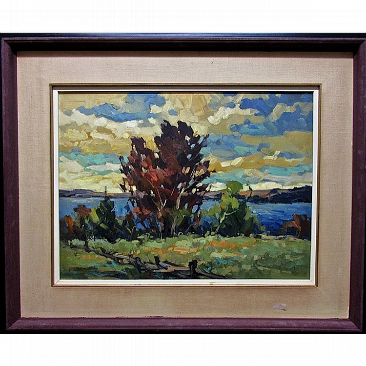 JAMES (JIM) A. BIRNIE (CANADIAN, 20TH CENTURY), WINDY DAY - KAMANISKEG LAKE, OIL ON MASONITE; SIGNED LOWER LEFT; TITLED TO ARTIST LABEL VERSO, 18