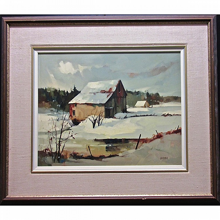 JAMES (JIM) A. BIRNIE (CANADIAN, 20TH CENTURY), WINTER REFLECTIONS - MADAWASKA, OIL ON MASONITE; SIGNED LOWER RIGHT; TITLED TO ARTIST LABEL VERSO, 16