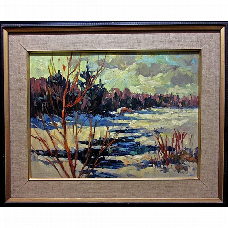 JAMES (JIM) A. BIRNIE (CANADIAN, 20TH CENTURY), MILL POND IN MARCH - MADAWASKA, OIL ON MASONITE; SIGNED LOWER RIGHT; TITLED TO ARTIST LABEL AND GALLERY LABEL VERSO