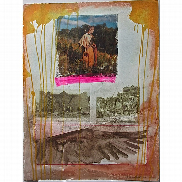 """ANN BEAM (NATIVE CANADIAN, 1944-), UNTITLED (WOMAN IN FIELD, WALL BUILDERS, WING), MIXED MEDIA ON PAPER; SIGNED LOWER RIGHT (Sheet, 30"""" x 22.5"""") UNFRAMED"""