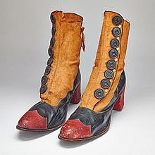 Pair of Victorian Shoe Store Window Prop Shoes, c.1880, height 17