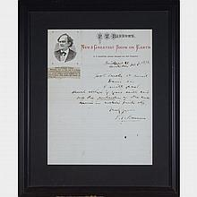 Letter Signed by P. T. Barnum, 1878, 9.75
