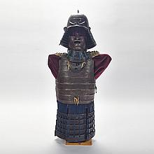 Meiji Period Samurai Helmet, Mask and Armour, 19th century, height 46