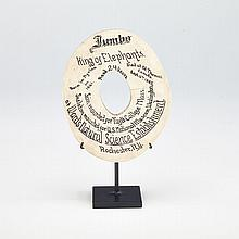 Jumbo, The Elephant: Commemorative Slice of Tusk, 1885, 5.5