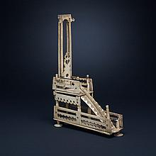 French Napoleonic 'Prisoner of War' Bone Model of a Guillotine, early 19th century, height 9