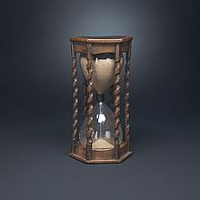 French Carved Oak Hour or Sand Glass, 19th century, height 9