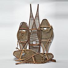 Five Pairs of Snow Shoes, 19th century or earlier, longest length 62