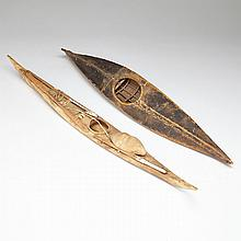 Two Inuit Models of Kayaks, 19th and 20th centuries, longest length 21