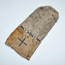 Inuit Beaded Sealskin Pouch, 19th century, height 12