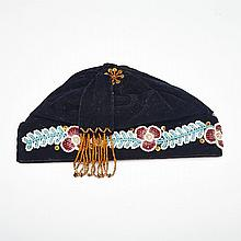 Mi'kmaq (Micmac) Indian Beaded Velvet Hat, 19th or early 20th century, height 6