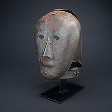 Mediaeval German Style Wrought Iron 'Shame' Mask, 20th century, height 13