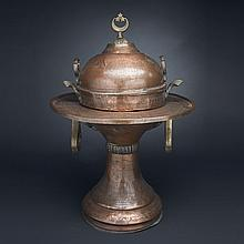 Large Egyptian Brass Mounted Copper Brazier, early 20th century, height 26