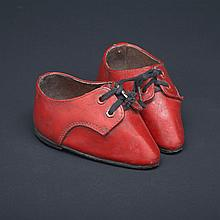Pair of Chinese Red Leather Shoes for Bound Feet, early-mid 20th century, length 4.75