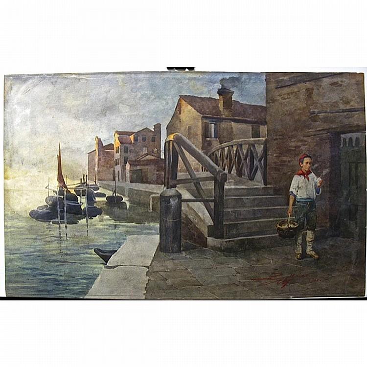 ENEA BALLARINI (ITALIAN, 1835-1939), YOUNG FISHERMAN HAVING A SMOKE, WATERCOLOUR; SIGNED AND DATED 1900 LOWER RIGHT - UNFRAMED (16.5