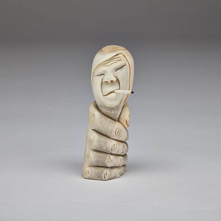 SILAS QAYAQJUAQ (1956-), TRAP IN TOBACCO, antler, 3
