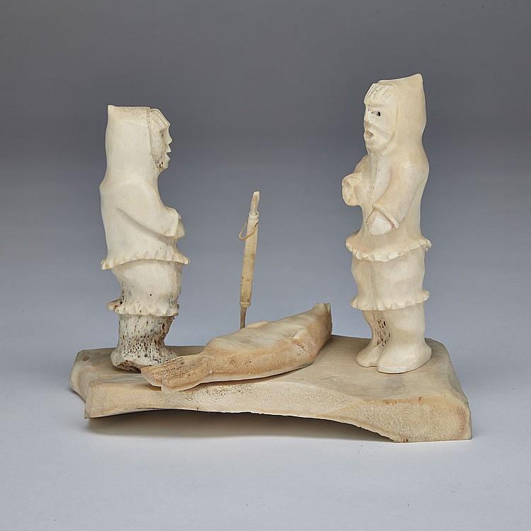 GUYASEE VEEVEE (1952-), HUNTERS WITH SEAL, bone, sinew, 5