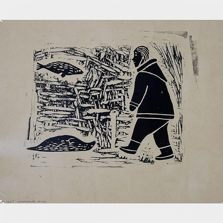 ATUNGAUYAK EESEEMAILEE (1923-1989), E6-66; PEA ALOOLOO (1951-1979), UNTITLED (MAN AND SEALS; INTERIOR SCENE), probably linocut (unframed), 10.5