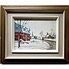 RON JAMIESON (CANADIAN, 1917-), NEW SNOW, STE MARTINE, QUE, OIL ON MASONITE; SIGNED LOWER RIGHT; SIGNED, TITLED AND DATED JAN 1982 VERSO; TITLED TO GALLERY LABEL, 12