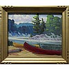 ROBERT LEE CHADWICK (CANADIAN, 1905-1971), EARLY MORNING, LAKE MULDREW, MUSKOKA, OIL ON PANEL; SIGNED LOWER LEFT; TITLED VERSO (Inscribed - Sold Miss Bortwick - Miramichi Lodge), 10