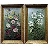 "EMILY MARY GUNN (CANADIAN, 19TH CENTURY), FLORAL STUDIES, PAIR OF OILS ON CANVAS; EACH SIGNED AND DATED 1894 (Each, 26.8"" x 14.5""), Emily M. Gunn, CAD0"