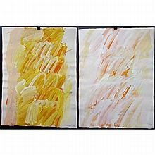 """GRAHAM CANTIENI (CANADIAN, 1938-), UNTITLED, TWO OILS ON PAPER; EACH SIGNED AND DATED '97 LOWER RIGHT (Each sheet, 25.5"""" x 19.5"""")"""