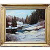 FRANK E. CAVELL (CANADIAN, 1909-1980), WINTER SHADOWS, OIL ON CANVAS BOARD; SIGNED LOWER RIGHT; TITLED TO ARTIST LABEL VERSO, 19.8